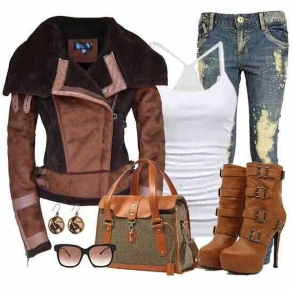 jacket shoes bag jeans tank top