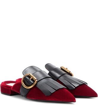 slippers velvet red shoes