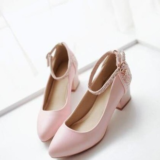 shoes pink baby pink baby pink high heels high heels cute kawaii kawaii accessory classy fancy blush pink rose rose gold