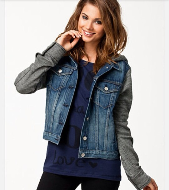 Jacket: jeans, jeans, jeanjacket, grei, hoodie, sweatshirt ...