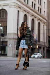 maria vizuete,mia mia mine,blogger,jacket,skirt,belt,shoes,sunglasses,bag,camouflage,gucci belt,sandals,high heel sandals,denim skirt