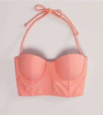 shirt coral corset top belly top pink bustier bralet swimwear peach bikini pretty cropped bralette tank top pastel cute crop tops summer blouse bustier bikini orange swimwear halter pink halter halter top underwear beach suimsuit top bikini top