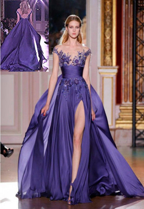 Long Purple Applique Formal Party Evening Prom Cocktail Dresses ...