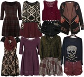 dress,soft grunge,edgy,romantic,girly,dark,aria montgomery,pretty little liars,plaid,skull,lace,leather,studs,sweater,skirt