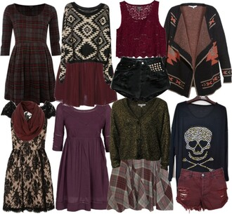 leather sweater girly dark lace skirt dress studs soft grunge edgy romantic aria montgomery pretty little liars flannel skull