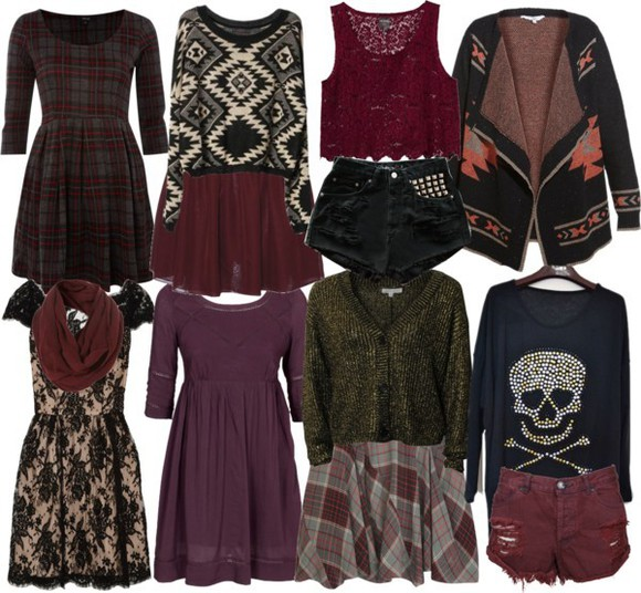 romantic skirt lace dress girly soft grunge edgy style dark aria montgomery pretty little liars plaid skulls leather studs sweater