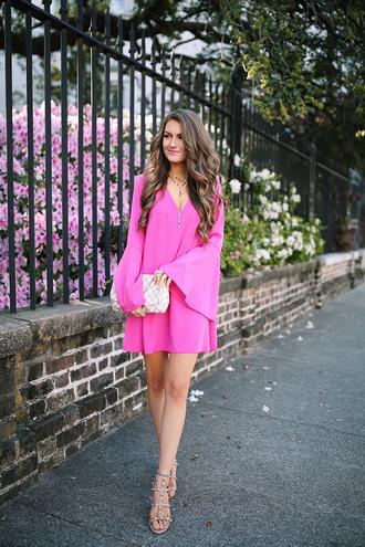 dress tumblr pink dress mini dress spring outfits spring dress date outfit date dress bell sleeve dress bell sleeves sandals sandal heels bag necklace gold necklace jewels jewelry spring date night outfit