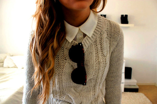 sweater sunglasses white shirt curly hair grey sweater smart casual