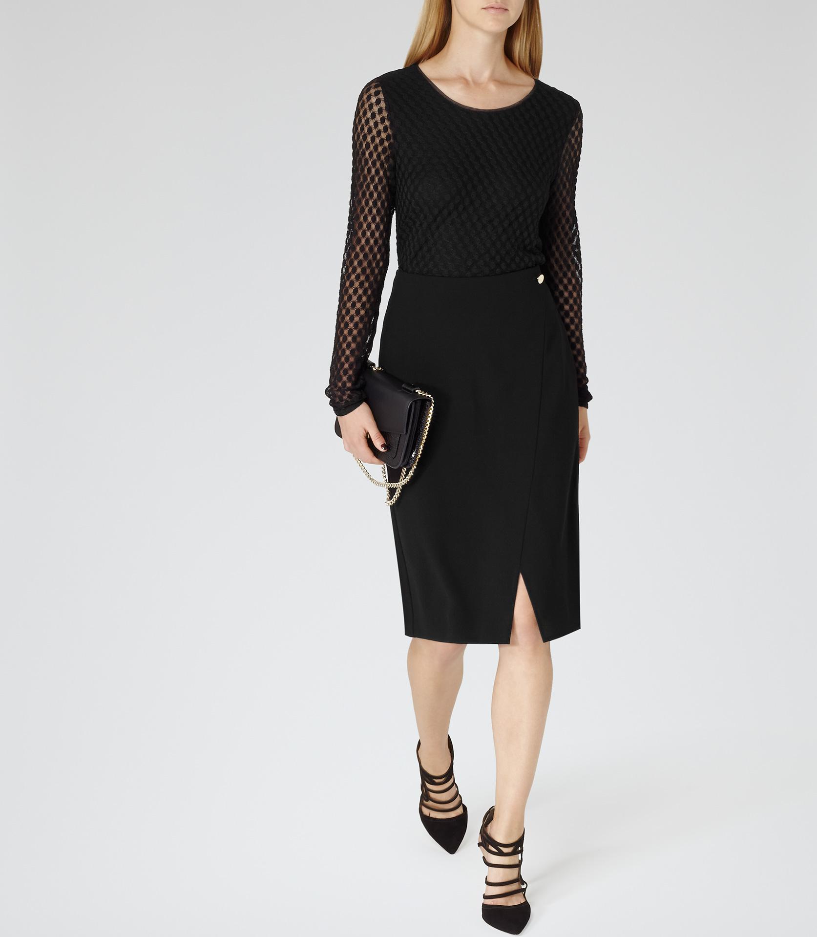 Adriana Black Button Wrap Style Skirt - REISS