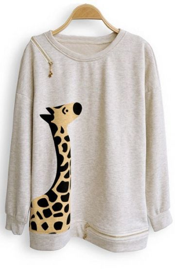 Beige Giraffe Print Batwing Long Sleeve Zipper Embellished Sweatshirt - Sheinside.com