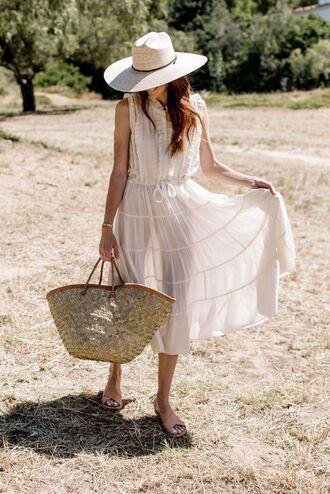 dress hat tumblr sleeveless sleeveless dress white dress midi dress bag woven bag sandals flats sun hat shoes