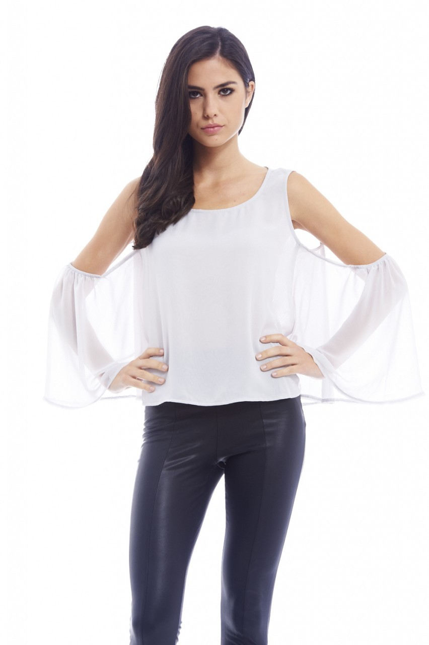 Silver Chiffon Floaty Cut Out Shoulder Top