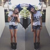 shoes,acacia brinley,hat,cats,shirt,i love cats,t-shirt,perfect girl,shorts,frayed,cat shirt,beanie