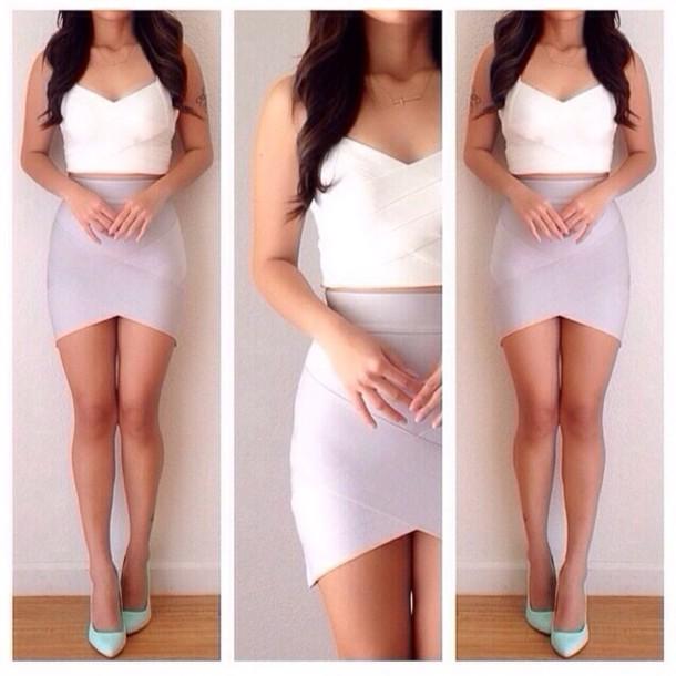 skirt pale violet purple bandage bandage skirt tulip