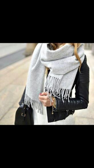 coat leather jacket black coat purse handbag scarf gray scarf white t-shirt