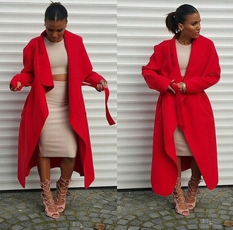 coat fashion style celebrity  fashion sexy coat red coat