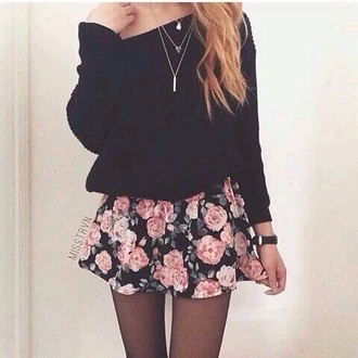 skirt rose pink black spring summer short floral leaves