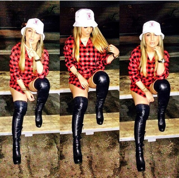 hat white hat shoes black black boots boots knee high boots checkered red checkered shirt shirt