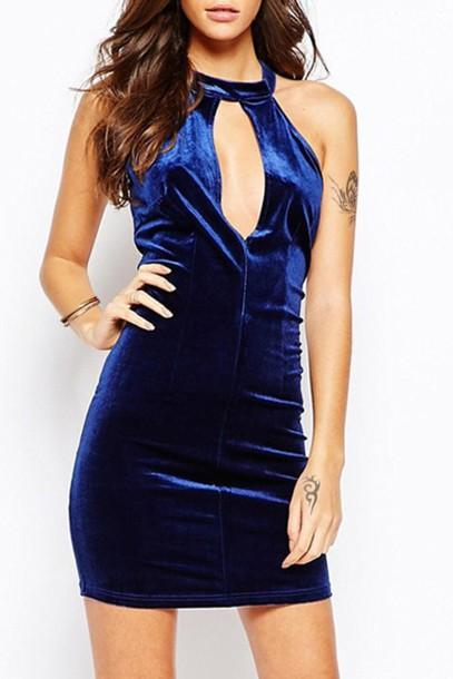 dress velvet blue royal blue dress sexy zaful