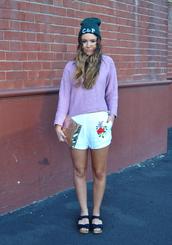 shorts,lilac,sweater,jumper,hat,beanie,Casper and Pearl