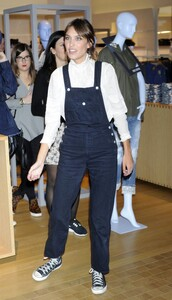 alexa chung,sneakers,denim overalls,jeans,shoes