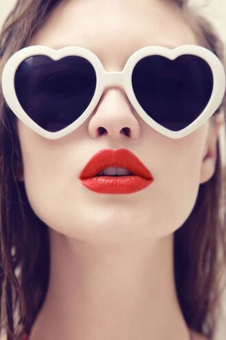 sunglasses red lipstick heart heart sunglasses white sunglasses retro sunglasses spring break