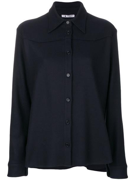 BARENA shirt collar shirt women blue wool top