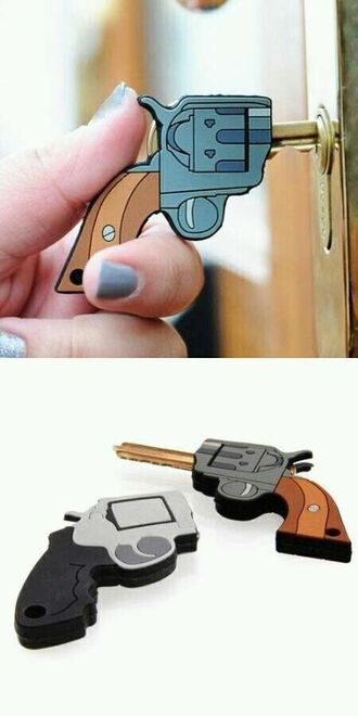 jewels key cover keychain home accessory gun funny