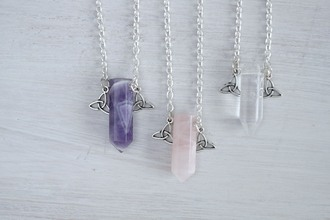 jewels quartz clear rose clear quartz rose quartz crystal necklace gemstone birthstone