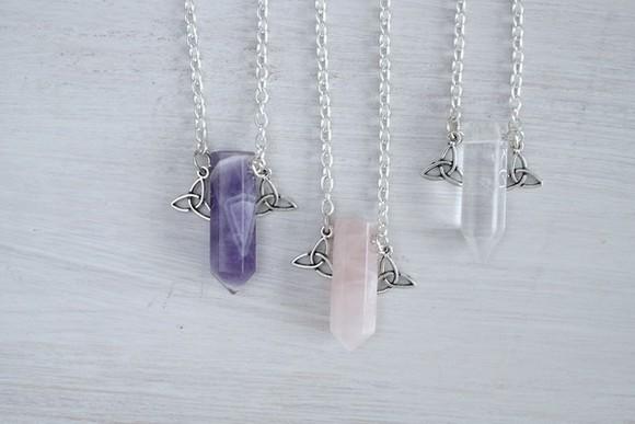 jewels quartz crystal necklace amethyst clear clear quartz rose rose quartz birthstone