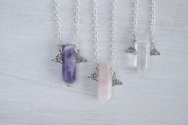jewels quartz clear rose clear quartz rose quartz crystal necklace gemstone birthstone