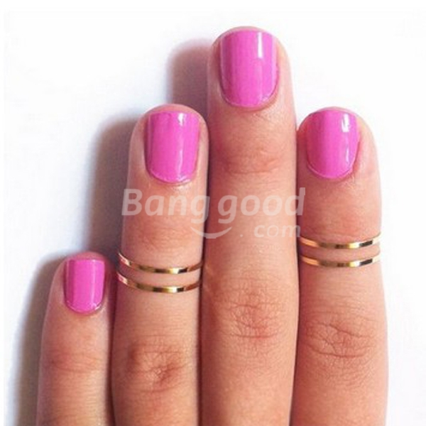 Punk Joint Concise Polished Glaze Thin Finger Ring Sliver Gold Plated Free Shipping!  - US$0.98