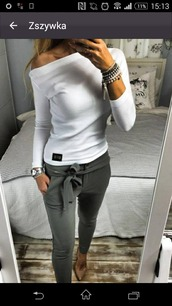 shirt,grey pants,long sleeves,white top,top,pants,blouse,white off shoulder top,jewels,don't know the brand,grey,skinny pants
