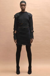 skirt,top,two-piece,all black everything,fashion week 2016,knitwear,sweater,NY Fashion Week 2016