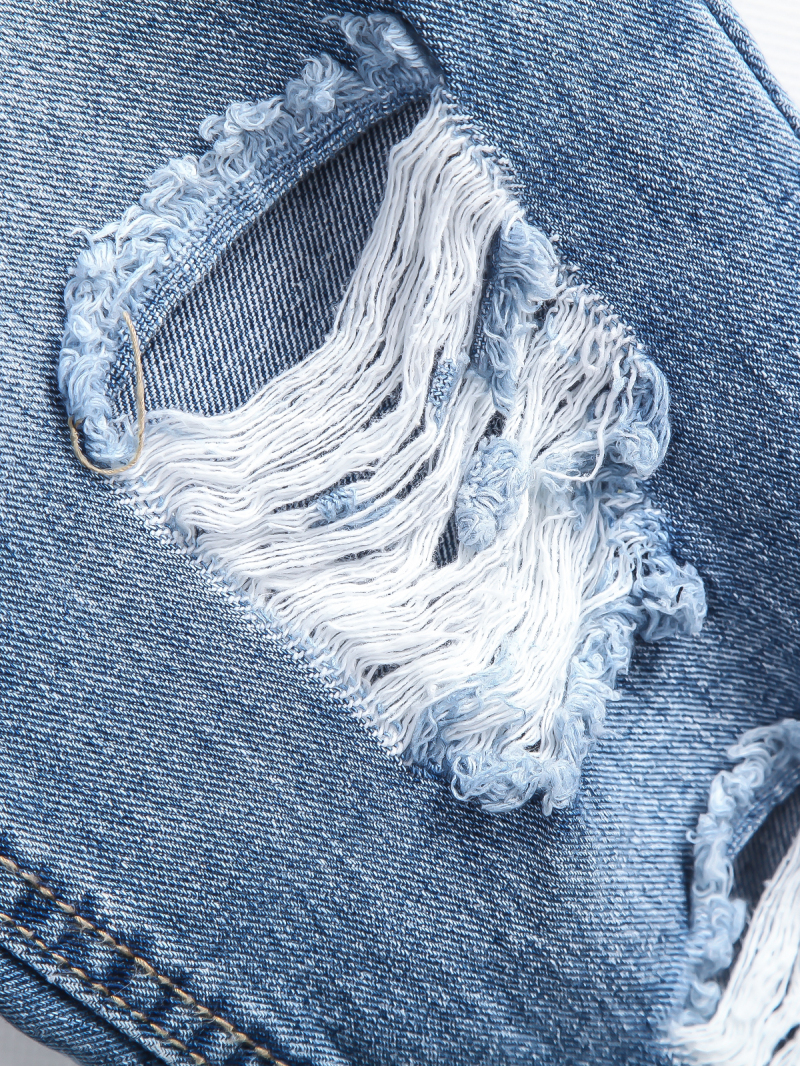 Blue Bleached Ripped Pockets Denim Pant - Sheinside.com