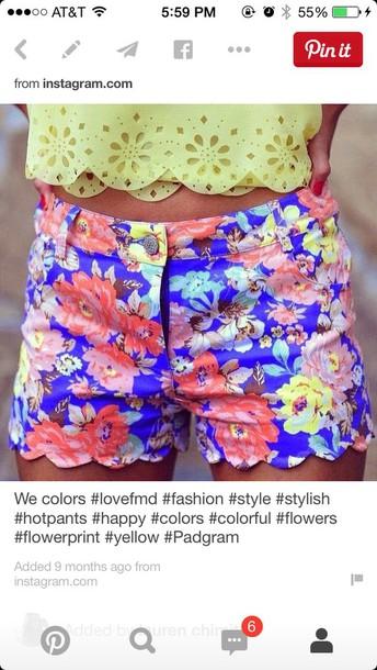 shorts shorts floral neon
