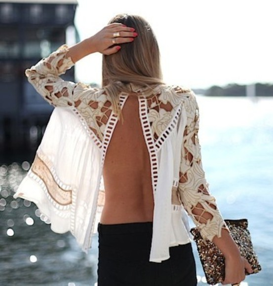 backless blouse coachella summer top skirt shirt lace blonde cream white