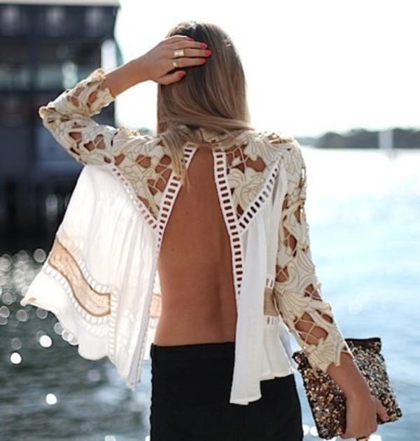 skirt shirt backless blouse lace blonde hair cream white coachella summer top