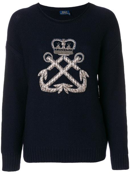 Polo Ralph Lauren - logo jumper - women - Wool - M, Blue, Wool