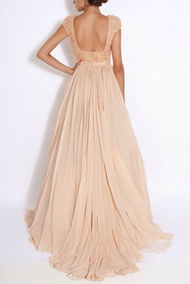 dress long long dress open back pastel prom sleeves evening gown peach pink pretty
