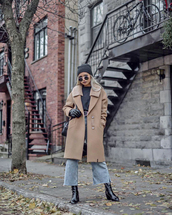 coat,tumblr,camel,camel coat,denim,jeans,blue jeans,cropped jeans,beanie,boots,black boots,gloves,sunglasses