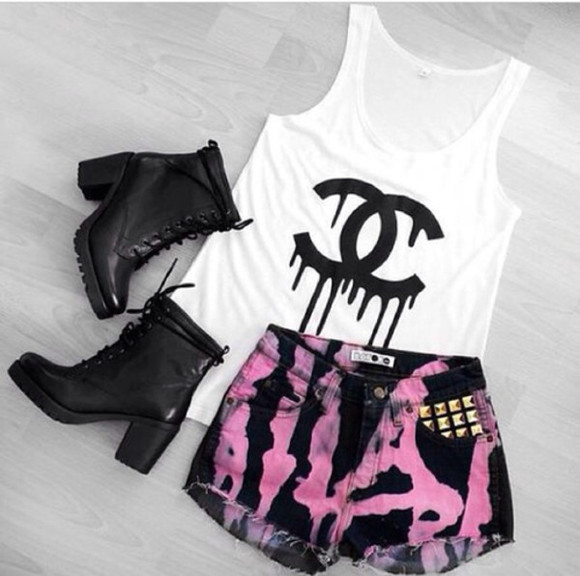 chanel t-shirt chanel t-shirt top boots ripped/distressed/destroyed jean shorts