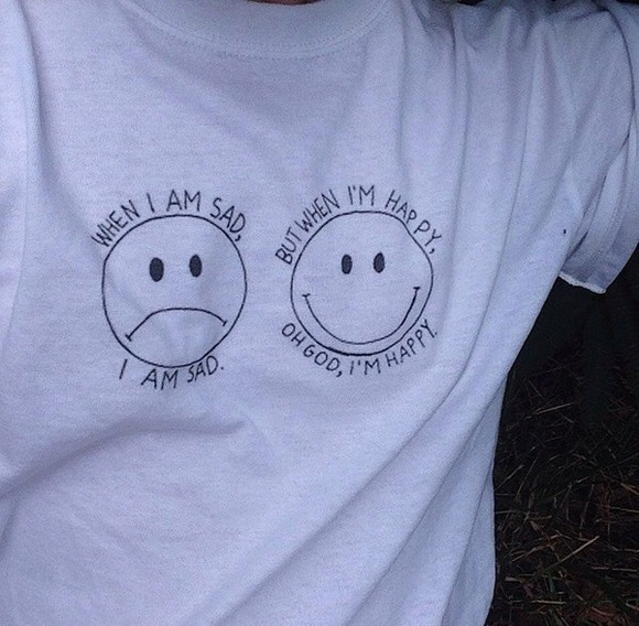 smiley face t-shirt smile white t-shirt when i ma sad i'm sad