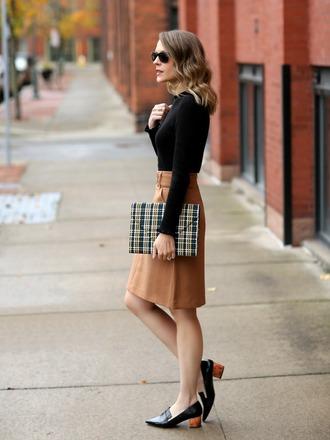 pennypincherfashion blogger coat sweater skirt shoes bag jewels clutch camel skirt beige skirt mid heel pumps loafers
