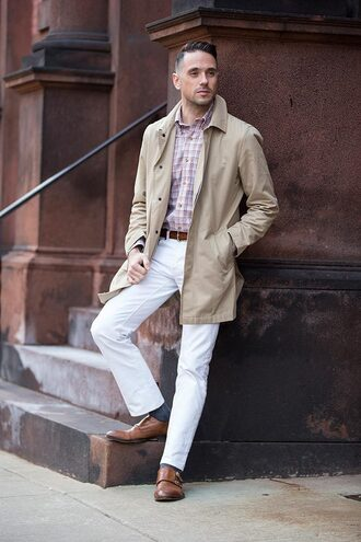 he spoke style blogger coat shirt jeans belt shoes