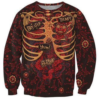 sweater printed sweater halloween crewneck sweatshirt caged skeleton
