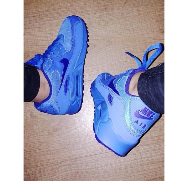 Nike 307793-408 GS Youth Air Max 90 Photo Blue Deep Royal Blue Grade School