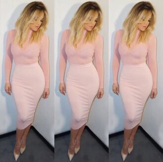 blush pink khloe kardashian midi skirt pencil skirt bodycon dress pumps kardashians