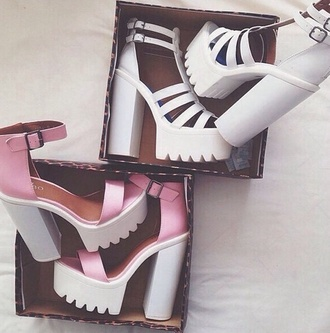 shoes high heels white heels pink drmartens