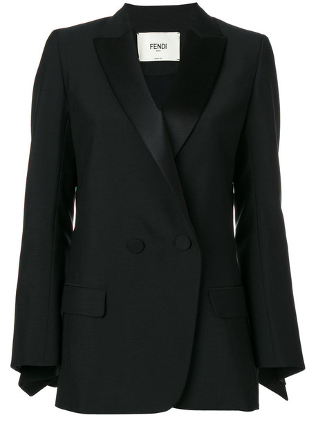 Fendi blazer women classic mohair black silk wool jacket
